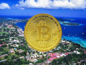 bitcoin aerial harbour with coin